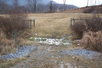 This stream is fenced to prevent contamination from animal wastes. Animals can cross and drink at this stabilized area.