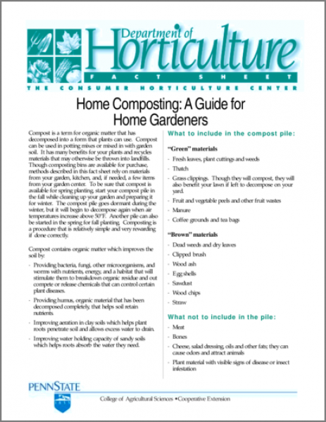 Home Composting: A Guide for Home Gardeners