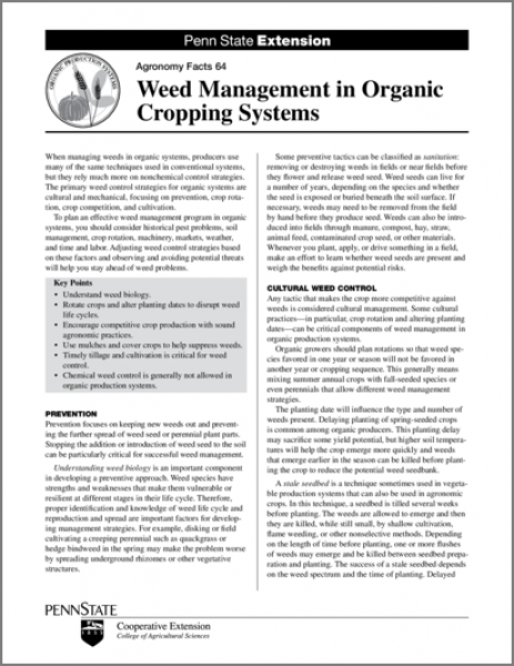 Weed Management in Organic Cropping Systems