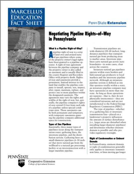 Negotiating Pipeline Rights-of-Way in Pennsylvania