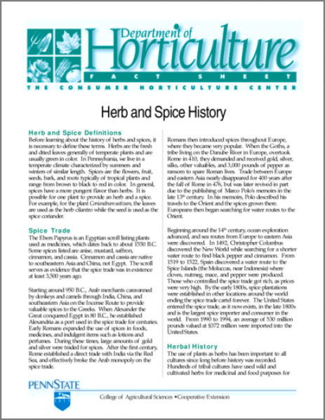 Herb and Spice History