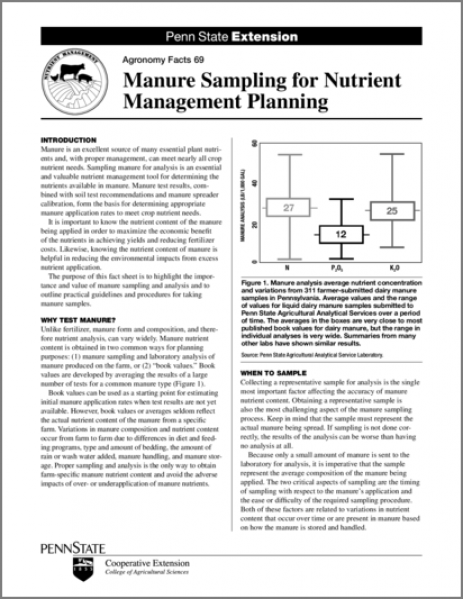 Manure Sampling for Nutrient Management Planning