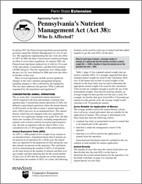 Pennsylvania's Nutrient Management Act (Act 38): Who Is Affected?