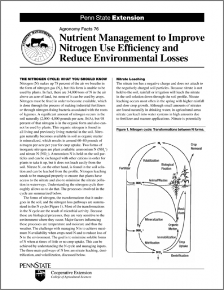 Nutrient Management to Improve Nitrogen Efficiency and Reduce Environmental Loss