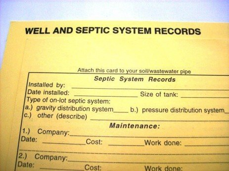 Keeping Well and Septic System Records