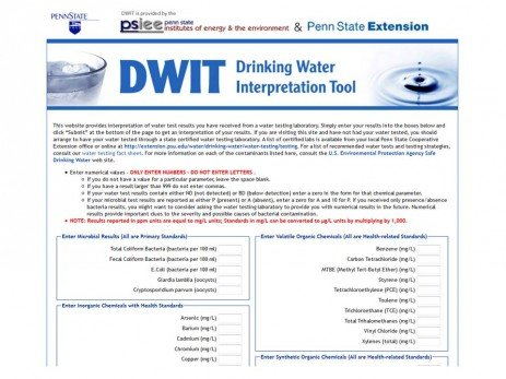 Drinking Water Interpretation Tool (DWIT)