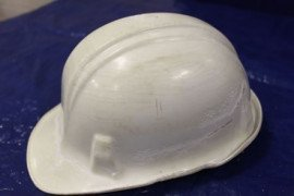 A damaged hard hat