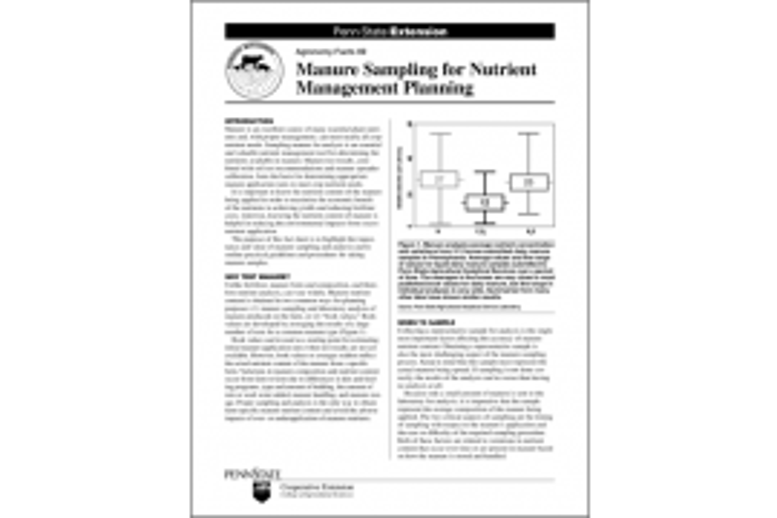Manure Sampling for Nutrient Management Planning