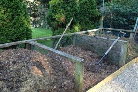 Compost bins with easy access for turning the pile