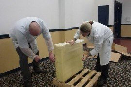Judges cutting a 200 pound block of Swiss cheese