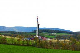 Marcellus gas drill pad on a Pennsylvania farm.