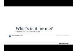 What's In It For Me? Farmers and Local Government