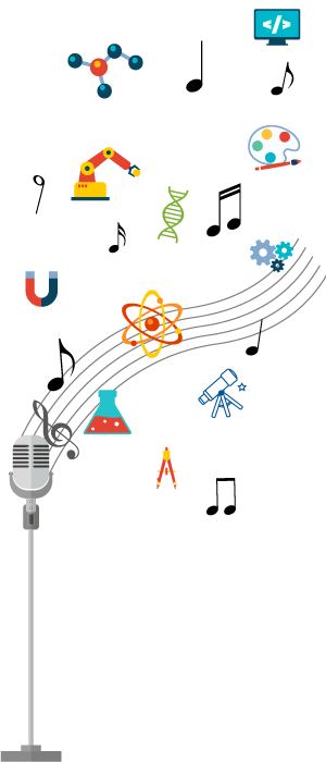 a microphone with a musical staff emanating from it. Instead of notes, the staff has science symbols on it