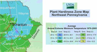 Map of Northeast Pennsylvania Hardiness Zone