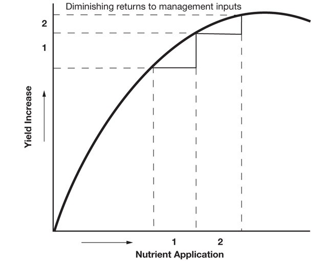 A typical response curve for nutrient application when nutrients are limiting